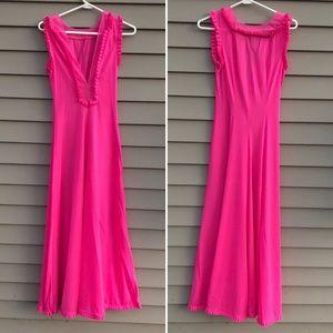 Vintage hot pink nylon wide leg palazzo pants jumpsuit pajamas S sleeveless